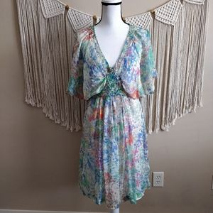 ZARA Floral Sheer Smocked Flutter Midi Dress M